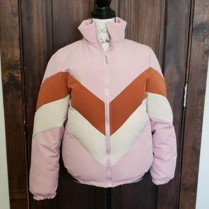 Pink chevron puffer jacket zip up medium